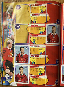 Signed X3 Manchester United Merlin 1998 Football Sticker Album 2 Pages Autograph