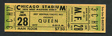 1977 Queen Thin Lizzy unused full concert ticket Chicago A Day At The Races