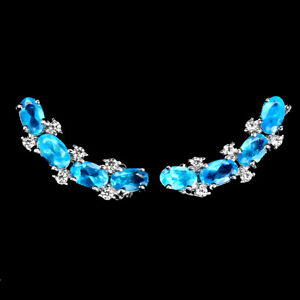 Oval Blue Apatite 5x3mm Cz 14K White Gold Plate 925 Sterling Silver Earrings