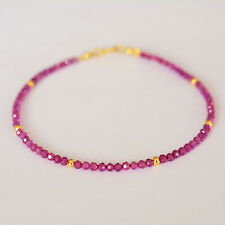 Fancy Remade Ruby 1-2mm Facted Beads 925 sterling silver Shining Bracelet