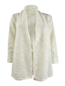Kasper Women's Petite Textured Sequined Jacket (PM, Vanilla Ice)