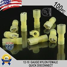 10-12 GAUGE 100 PCS NYLON FULLY INSULATED QUICK DISCONNECT FEMALE .250 CONNECTOR