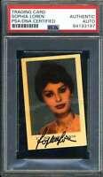 Sophia Loren PSA DNA Coa Signed 1950`s Dutch Trading Card Autograph