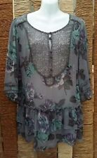 NEXT BNWT Ladies Grey Purple Green Floral Sheer Long Tunic Top Size 12