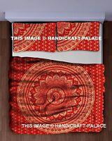 Ombre Mandala Imprimé Couette Boho Indien Métallique Couleurs Reine Rouge Lit