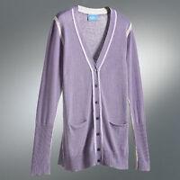 Simply Vera Wang Purple Dusk Cardigan Sweater Gray Trim Pockets NWT M L XL