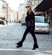 ZARA Trafaluc Black leather Fringed High Heel Boots Fringe Shoes UK 6 Euro 39