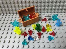 Lego hellbraune Schatztruhe mit Diamanten Kristallen Goldmünzen