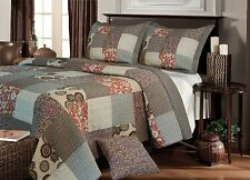 BEAUTIFUL GREY BLUE BROWN IVORY PLAID PATCHWORK CABIN QUILT SET QUEEN OR KING SZ