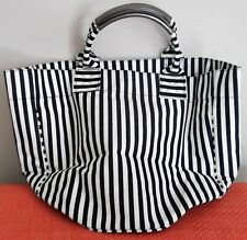 Bucket Beach/Summer Bag Navy/White Stripe Canvas Large Tote w/Cosmetic Bag