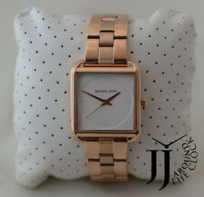 New Michael Kors Lake Rose Gold Squared White Dial Stainless Steel 32MM MK3645