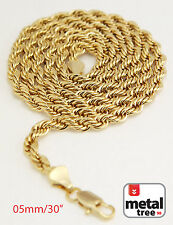 """Men's 14K Yellow Gold Plated 5 mm Rope Chain Necklace 30"""" for Micro Mini Pendant"""