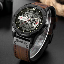 Fashion Mens Casual Sports Watches Quartz Leather Band Waterproof Wrist Watch