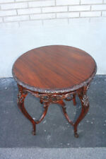Spectacular French Louis XVI Heavily Carved Mahogany Round Center Side Table