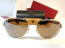 52020a232c SANTOS DE CARTIER Brille T8200940 Wood Ergonomic Polarized Mirror Sunglasses  NEW