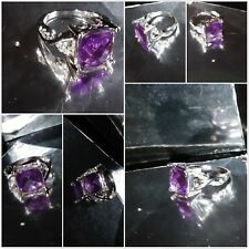 9Ct  Gold Sterling Silver 4.5Ct Violet Spinel Wedding Annversary Ring Size N 1/2