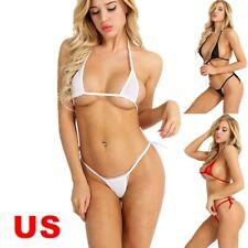 Women Sexy Lingerie Sheer Mesh Bra G-string Thongs Underwear Bikini Sleepwear US