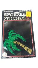 Vintage Sparkle Patch PALM TREE Iron On or Sew USA New Old Stock