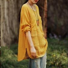 Women Long Sleeve Blouse Shirt Casual Loose Mini Dress Spring Tee Tops K0n0 Yellow 3xl (us12 Uk16 Eu42)