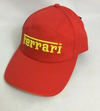 Ferrari Red Cotton Baseball Cap Mens Made in Italy Spell out One Size Fits NEW