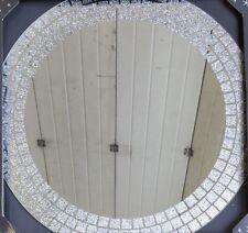 Round Silver Glitter Mosaic Effect Mirror 50cm Retro Modern Girls Bedroom