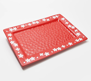 """Temp-tations Fields of Flowers 18"""" Rectangle Platter - Red"""