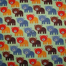 BonEful Fabric Cotton Quilt Green Brown Baby Boy BEAR Red Stripe Dot Retro SCRAP