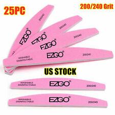 EZGO 25pc Nail Files Buffer 200/240 Smooth Sanding Acrylic gel nail kit Polisher