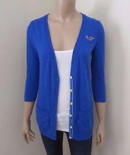Hollister Womens V-Neck Cardigan Size Small Sweater Top Shirt Blue Sweatshirt