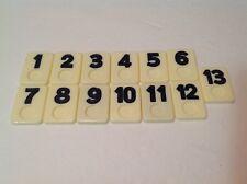 Vintage Rummikub Replacement Parts Pieces Set of 13 Black Tiles 1 through 13