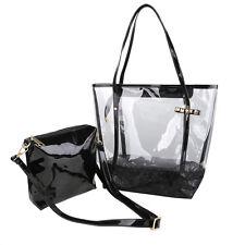 Damen Gelee Transparente PVC Strand Handtasche Schulter Beutel mit Klein Tasche