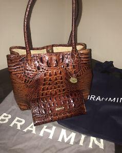 BRAHMIN ANYTIME TOTE PECAN MELBOURNE BROWN CROC LEATHER SHOPPER Purse & Wallet