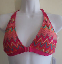 Perry Ellis Womens Swimsuit Bikini Top Crochet Racerback Pink Chevron M NWT $66