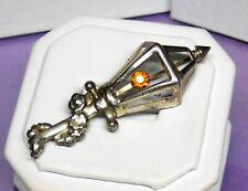 Vintage Lang Sterling Silver Rhinestone Lamp Post Brooch Pin