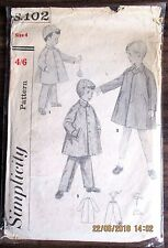 Vintage  SIMPLICITY Sewing pattern no.S102 Boys Pants & Coats size 4