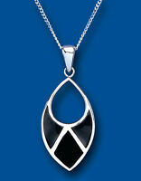 Onyx Pendant natural Black Onyx Necklace Solid Sterling Silver and Chain