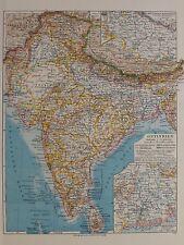 Landkarte von Ostindien, Gangesdelta, Hindostan, 1935 Bibli. Institut AG
