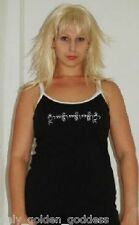 black white yoga top spaghetti workout M L XL 1X ZE220
