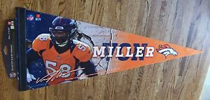 Denver Broncos Von Miller orange player premium pennant