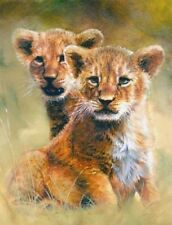 Matted Lion Cubs Foil Art Print~Affordable Art~8x10~Animal