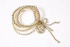Five Stunning Gold&White Beads Bracelets w Gold Flower Butterfly&Chain (T205)