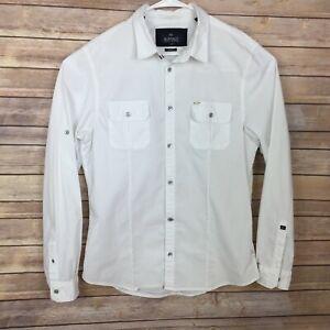 Buffalo David Bitton Mens Long Sleeve White Shirt Large Slim Fit