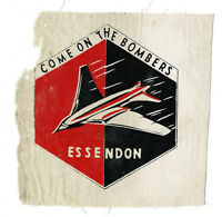 1955 Essendon Come On The Bombers VFL cloth patch Herald newspaper