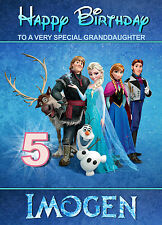 Frozen Characters Cast Disney Birthday Card ANY NAME AGE RELATIVE! Personalised