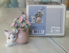Lladro Figurine Secret Spot Kitten Cat With Flowers #6566 w/ Box Retired
