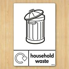 Household Waste Sign A5 148x210mm Self-adhesive Vinyl Sticker WRAP Recycle Now