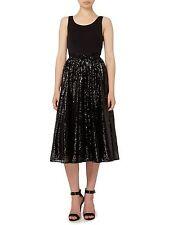 $250 Michael Kors Metallic Lace Skirt- Black Mid-Calf Length Skirt- Sz 12