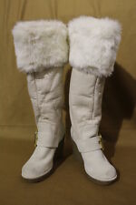 NWOT ALDO Ivory Fabric&Faux Fur MidCalf BootsW/Cute Buckle Decor Womens36/6 B31