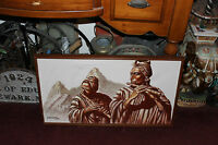 Vintage Original Peruvian Oil Painting Native Tribal Men Playing Flutes Signed