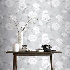 BOUTIQUE FLORAL WALLPAPER GREY - RASCH 226188 FLOWERS NEW
